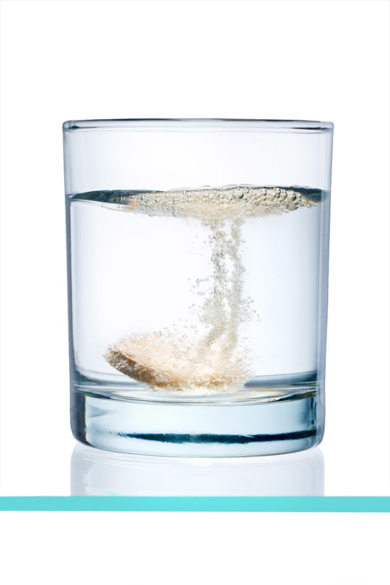 glass with efervescent tablet in water with bubbles for Rosenpharma