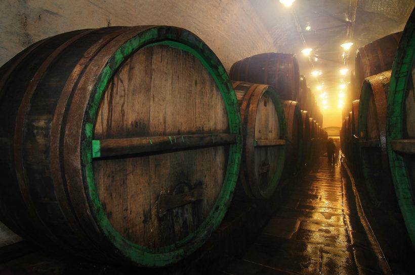 underground cellar with big oak barrel -Pilsner Urquell