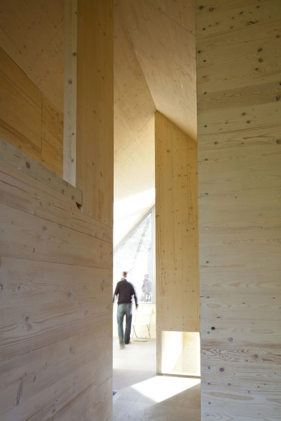 wood interior of weekend house at Zbecno by A.LT architects