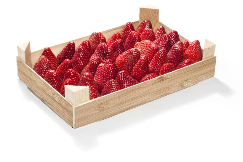 box of strawberries for BILLA market