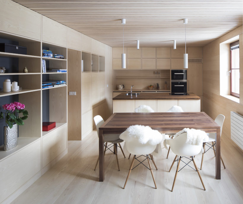 interior of apartman at Spindleruv Mlyn by Holiš Šochova architects